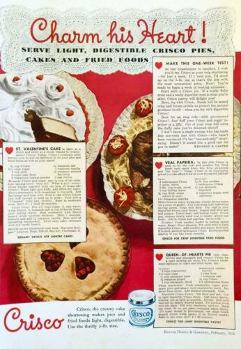 1936 Crisco Vegetable Shortening PRINT AD Charm His Heart Valentines Day Recipes
