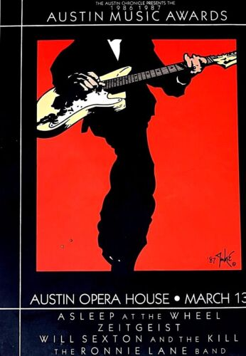 SXSW Austin Music Awards 1987 -by JUKE -ASLEEP AT WHEEL RARE silkscreen ORIGINAL