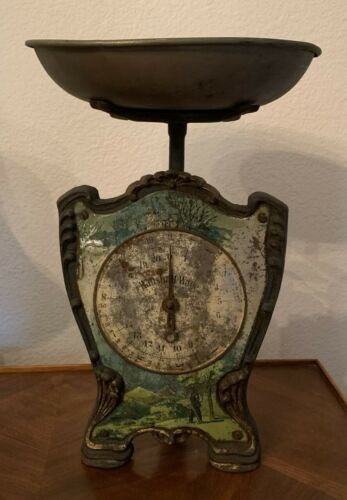 Rare Antique German Cast Iron Wirtschafts Waage Merchant Scale with Garden Scene