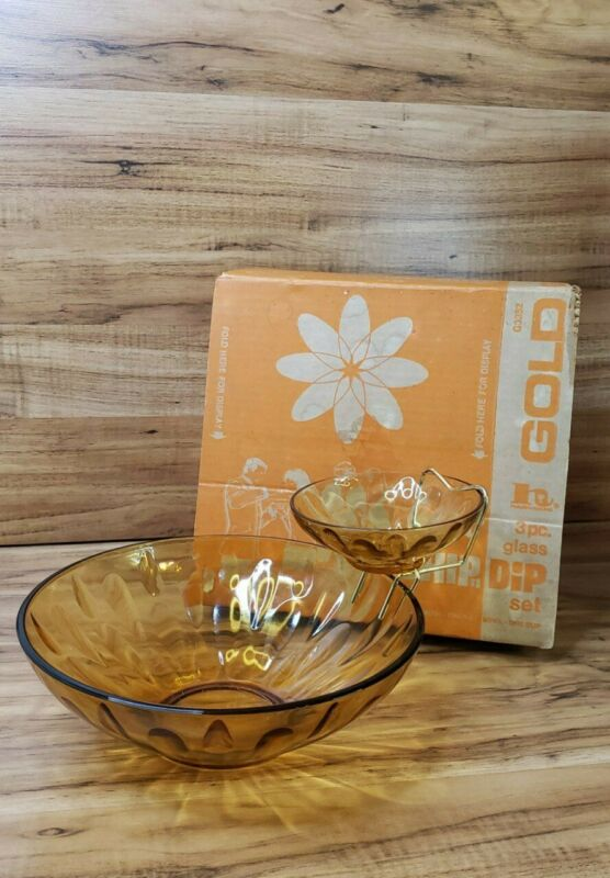 Anchor Hocking Vintage 3 Pc Gold  Glass Chip and Dip Set Swedish Modern