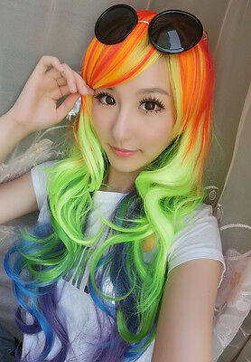 My Little Pony Rainbow Dash Cosplay Full Long Wavy Curly Wig Fashion New
