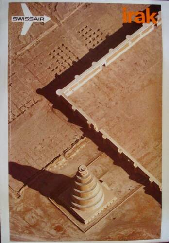 SWISSAIR AIRVIEW IRAK Vintage 1971 poster AIRLINES GERSTER 25x40 NM LINEN RARE