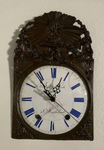 Antique French Morbier Comtoise Enamel Clock Face, Brass Repoussé Frame, Works