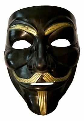 Black Gold Guy Fawkes Anonymous V for Vendetta Halloween Costume Mask (Black Guys Halloween Costumes)