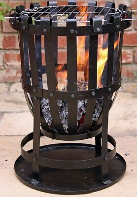 Garden Incinerator With Barbeque Fire Basket Steel Brazier Patio Heater BBQ