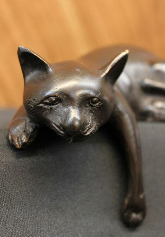 Statue Sculpture Cat Wildlife Modern Style Bronze Signed Feline Figure Decor Art