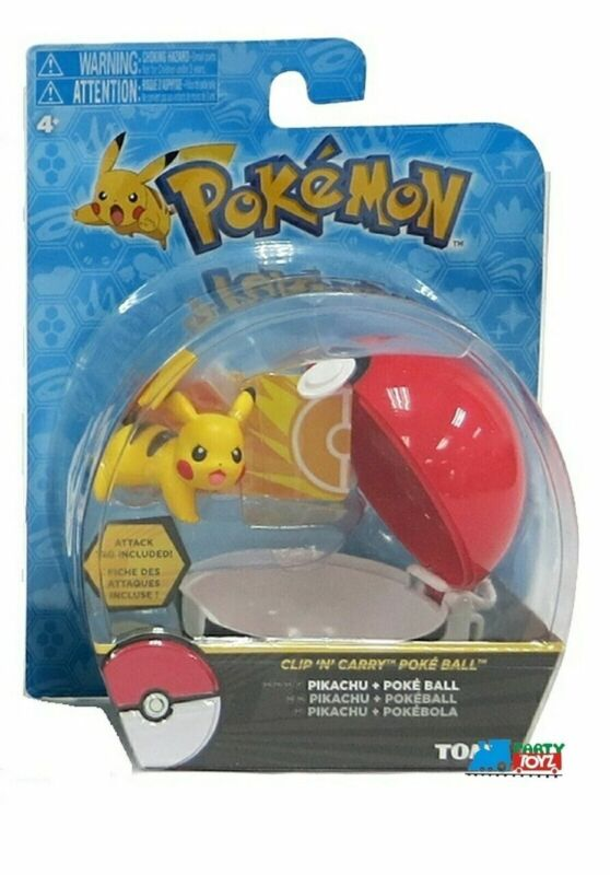 """Pokemon 2"""" Plastic Toy Action Figure Clip n Carry - Pikachu and Poke Ball"""