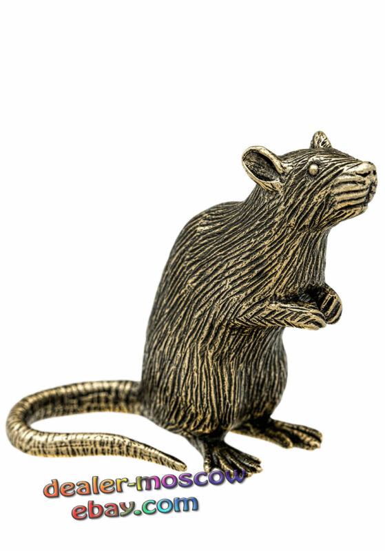 Bronze Solid Brass Figurine Rodents House Rat Mouse Mice IronWork Statuette
