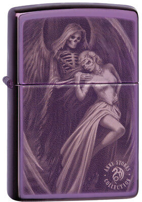 "Zippo Lighter ""Anne Stokes - Purple Abyss"" No 29717 - New polished purple finish"