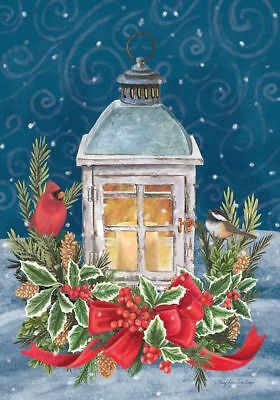 #95 WINTER LANTERN CHRISTMAS CARDINAL HOLLY LARGE HOUSE FLAG