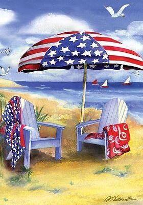 FM36 PATRIOTIC AMERICAN BEACH SHORE SAILBOATS GARDEN FLAG  BANNER