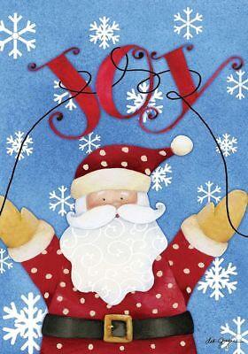 #146 JOY SANTA CHRISTMAS HOUSE FLAG 28X40 BANNER SNOWFLAKES * FREE SHIPPING *