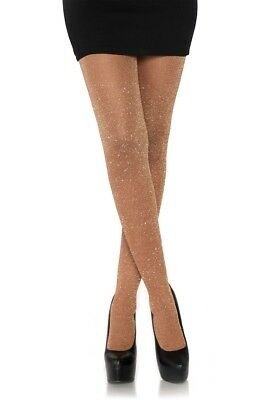 (Rose Gold Xmas Glitter Lurex Tights Christmas Party Fancy Dress Sparkle Fairy)