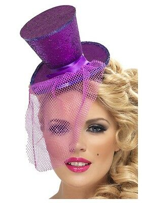 Mini Purple Top Hat Mad Hatter Costume Flapper Feather Womens Adult Fancy Dress - Mad Hatter Mini Hat
