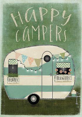 """FM112 HAPPY CAMPER CAMPING RV SUMMER 12""""x18"""" GARDEN FLAG BANNER"""