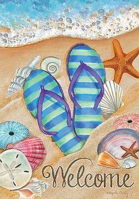 #26 DAY IN  SUN WELOCME FLIP FLOPS BEACH SUMMER LARGE HOUSE FLAG 28X40 BANNER