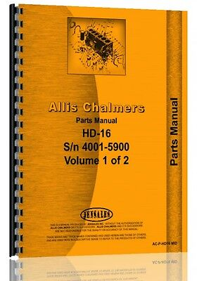 Allis Chalmers Hd16 Series Sn 4001-5900 Crawler Parts Manual Ac-p-hd16 Mid