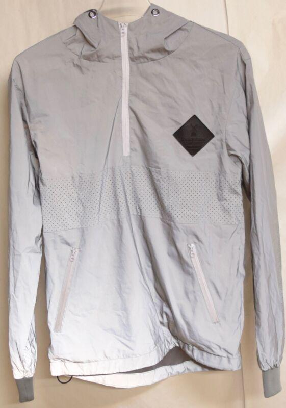 Dutch Bros. Bros Coffee HOODIE Gray Zip Rain Jacket Windbreaker Reflective XS