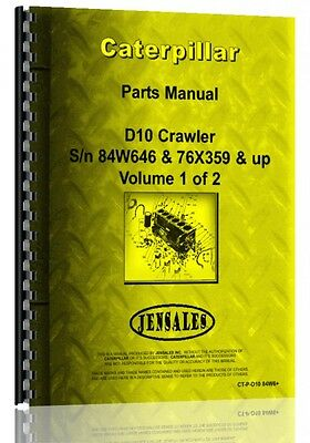 Caterpillar D10 Crawler Parts Manual Sn 76x359