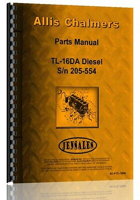 Allis Chalmers Tl-16da Wheel Loader Parts Manual Sn 205-554
