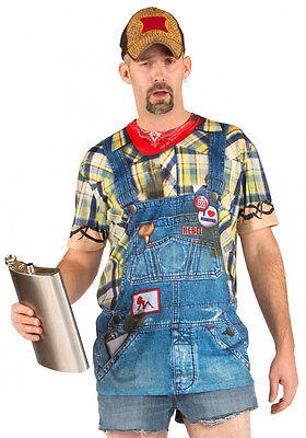 FAUX REAL Hillbilly COSTUME TEE T SHIRT Halloween Party COSPLAY Bandana BIBS - Hillbilly Halloween Costume