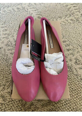 New Zara Pink Cow 🐄 LEATHER BALLERINA FLATS Shoes Sandals Slippers Size 9 Pink