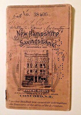 1893 New Hampshire Savings Bank  Account Book  Concord New Hampshire