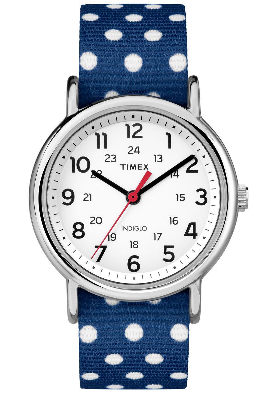 Timex Women's Weekender Reversible Dots Blue/White Nylon Str