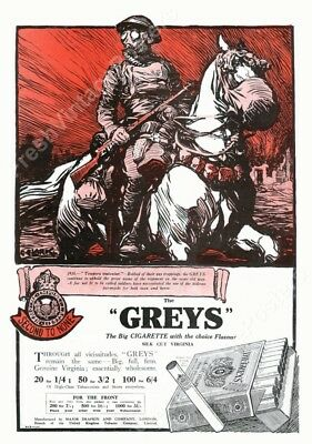 1918 WWI soldier horse gas mask dramatic Greys Cigarette ad new poster 24x35