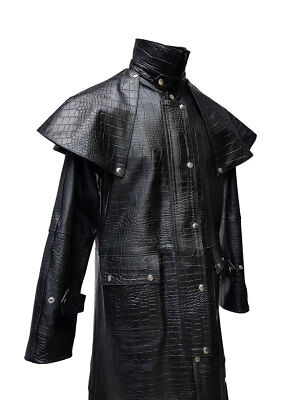 Mens Black Aligator Crocodile Leather DUSTER STEAMPUNK TRENCH MATRIX COAT - Steampunk Duster