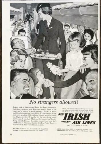 1960 Irish Air Lines PRINT AD No Strangers Allowed! Warm Sociable Atmosphere