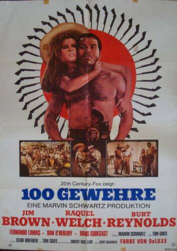 100 RIFLES German A1 movie poster RAQUEL WELCH JIM BROWN BURT REYNOLDS REHAK Art