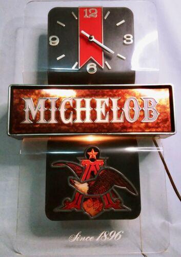 Vintage MICHELOB BEER Wall Light Clock Bar Sign Anheuser Busch Eagle Man Cave