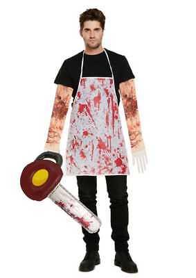 Halloween Verrückt Texas Kettensäge & Blutige Schürze & Ärmel Maskenkostüm (Verrückte Halloween Masken)