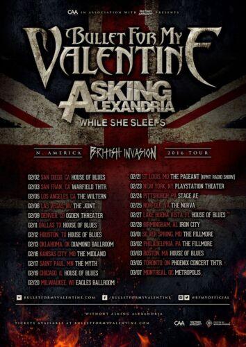 "BULLET FOR MY VALENTINE ""N. AMERICA BRITISH INVASION  2016 TOUR"" CONCERT POSTER"