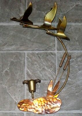 (VTG HOMCO BRASS METAL COPPER GEESE DUCKS CATTAILS WALL HANGING ART CANDLE HOLDER)