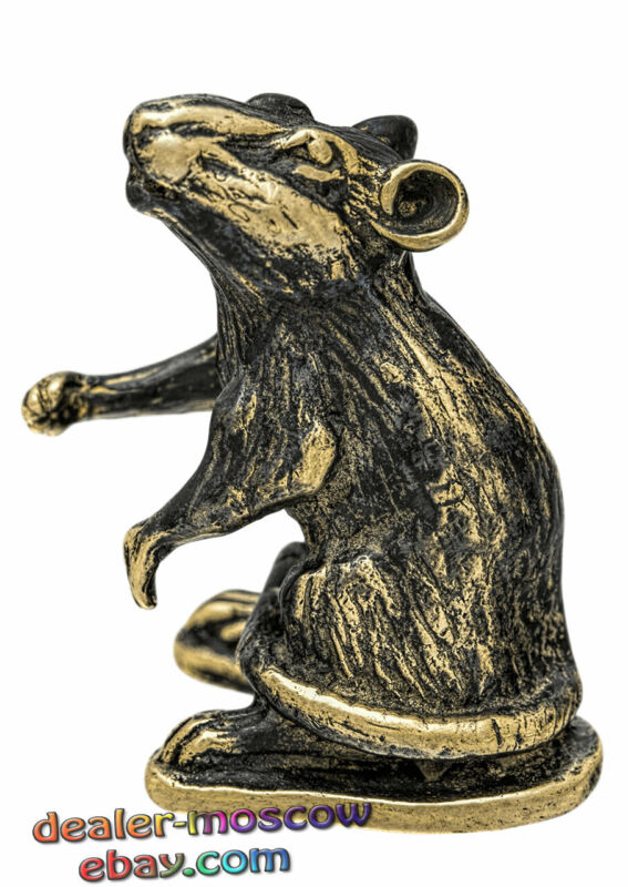 Bronze Solid Brass Figurine Rodents Old Rat Mice Mouse IronWork Statuette