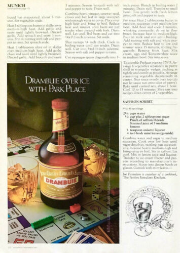 1982 Drambuie Liqueur PRINT AD Over Ice With Park Place Monopoly Board Theme