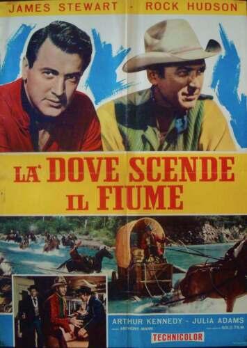BEND OF THE RIVER Italian 1F movie poster JAMES STEWART ROCK HUDSON R65 WESTERN