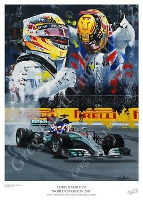 LEWIS HAMILTON WORLD CHAMPION 2017 limited edition print by Greg Tillett  F1