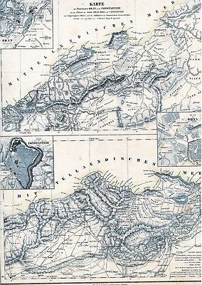Alte Landkarte ALGERIEN خريطة قديمة الجزائر الجزائر وهران بونا قسنطينة 1844