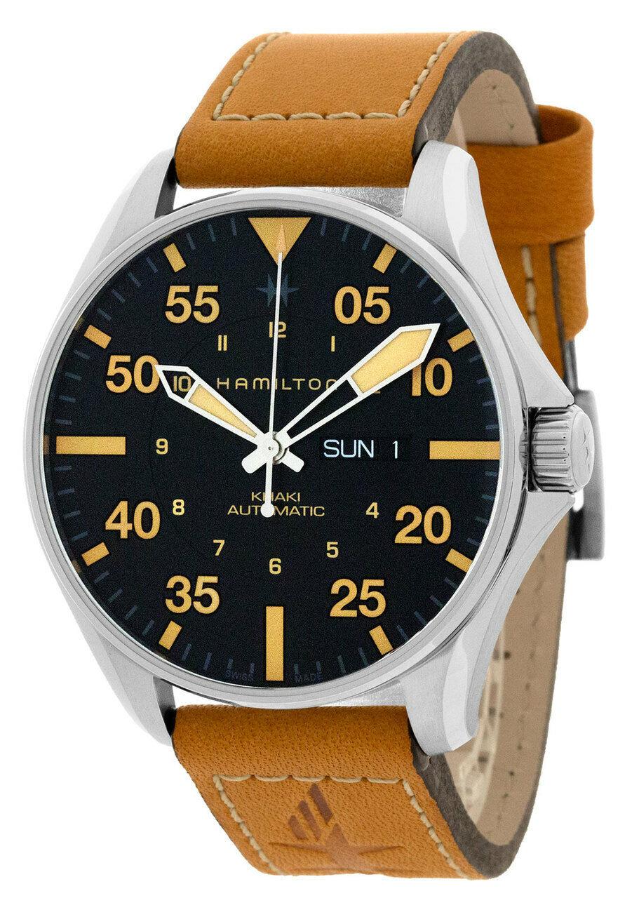 Hamilton Khaki Pilot 46mm Black Dial Automatic Leather Men's