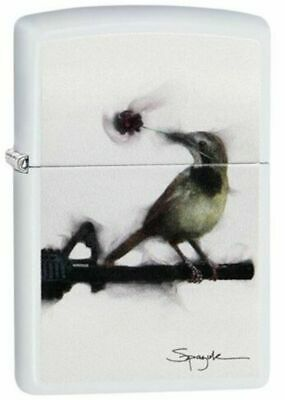 Zippo Lighter  Spazuk - Bird on Gun Barrell - No 29895 New on white matte finish