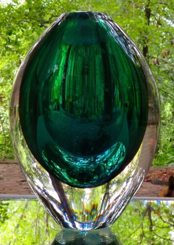 """Orrefors Crystal Green Table Vase Made in Sweden  6"""" Tall Heavy Mint w Label"""