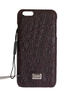 NEW $700 DOLCE & GABBANA Phone Case Brown Pattern Skin Leather Logo iPhone6 Plus