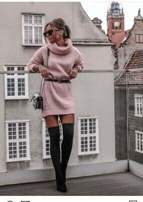 Maglione lungo mini abito donna Pullover maglioncino maglia di lana donna tg uni