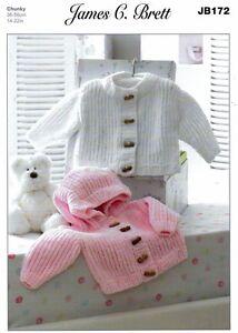 Flutterby Chunky Baby Jacket & Hoody Knitting Pattern - J Brett (14