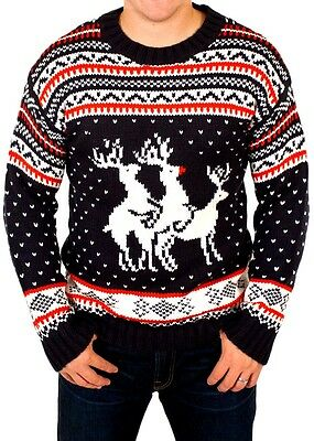 Threesome Reindeer Unisex Men's Ugly Funny Rude Knitted Xmas Jumper Sweater