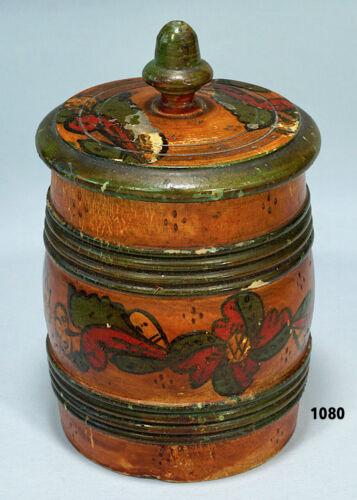 Antique Rosemaled Norwegian Norway Turned Wood Jar with Acorn Finial Lid