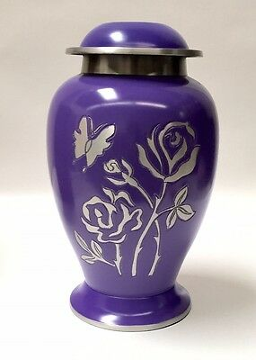 Gorgeous Adult Size Rose and Butterfly Funeral Cremation Urn, Ash Rrns- purple